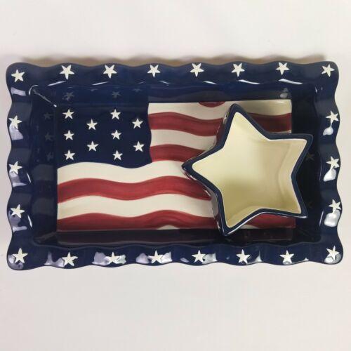 Americana Chip Dip Set USA Flag Serving Tray Stars Stripes 14 X 8.5 Homco NEW