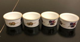 "Set of Four-Royal Worcester Evesham 3"" Olives & Berries Small Ramekins-England  - $14.85"