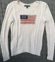 LAUREN Ralph Lauren Women Sz S Cable Knit USA Flag Sweater cream green l... - $24.75