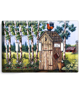COUNTRY RUSTIC OUTHOUSE FARM FRENCH ROOSTER 3 GANG LIGHT SWITCH WALL PLA... - $15.29