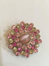 Vintage Brooch Pin Pink Cat's Eye Center Clear Rhinestones Unmarked - $11.66