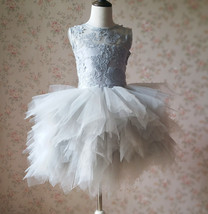 Gray Flower Girl Dress Gray Tulle/Lace Knee-Length Girl's Princess Dress NWT
