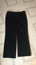 Ann Taylor Size 14 Dress Pants Black Flat Front Lined Wide Leg Wool Blend - $25.92