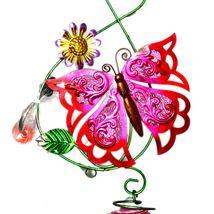 Painted Metal & Glass Pink Butterfly Garden Hanging Hummingbird Nectar Feeder image 3