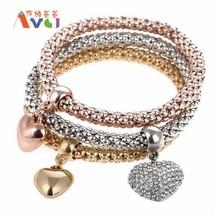 AMGJ Vintage Austrian Rhinestones Gold Color 3 Piece/Set Crystal Charm Bracelets - $14.05