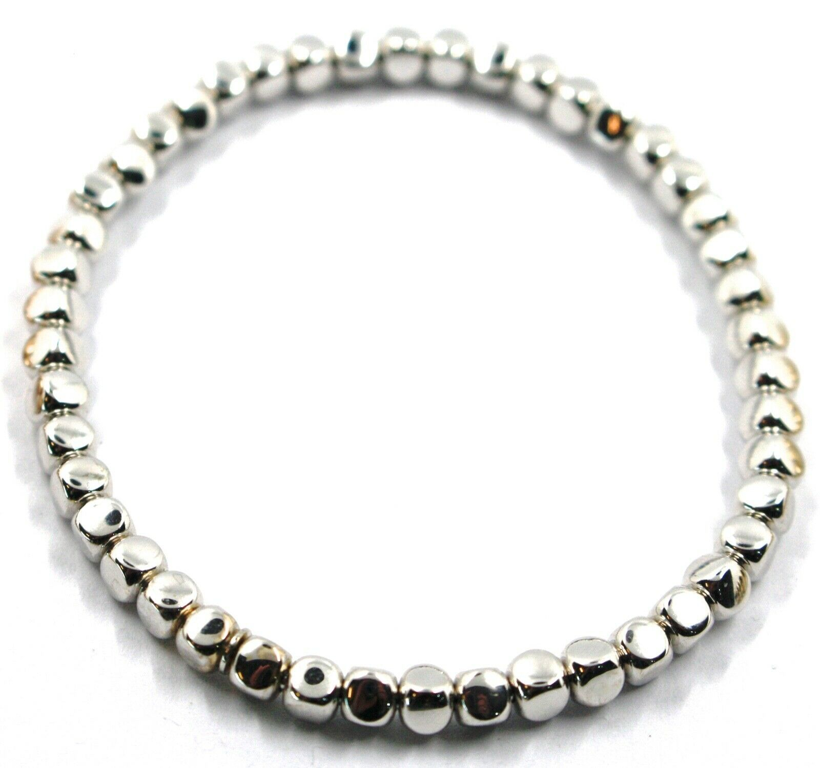 "SOLID 18K WHITE GOLD ELASTIC BRACELET, CUBES DIAMETER 4 MM 0.16"", MADE IN ITALY"