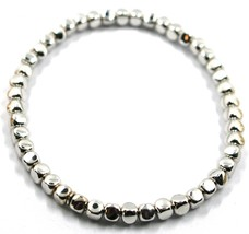 "SOLID 18K WHITE GOLD ELASTIC BRACELET, CUBES DIAMETER 4 MM 0.16"", MADE IN ITALY image 1"