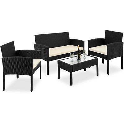 Black Rattan Garden Furniture Set Outdoor Sofa Two Armchairs Coffee Table 4pcs