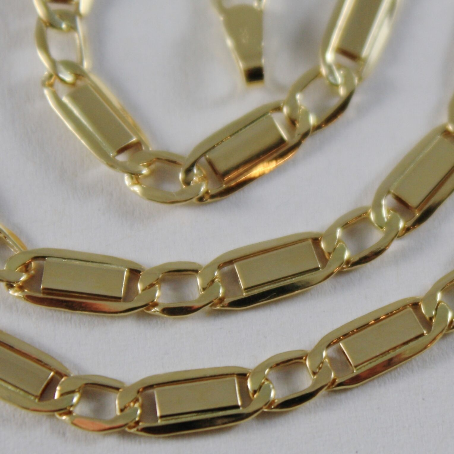 18K YELLOW GOLD CHAIN FLAT GOURMETTE ALTERNATE 4 MM OVAL LINK 17.7 MADE IN ITALY