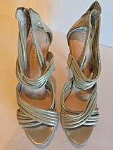 Gianni Bini Leather Strappy Silver Stiletto Heel Size 8.5M Woman's Shoe  - $17.55