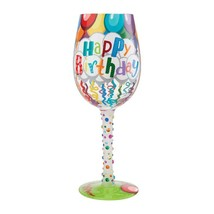 """Birthday Streamers """"Designs by Lolita"""" Wine Glass 15 oz 9"""" High Gift Boxed"""
