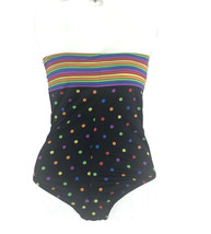 Vintage 1980s Girl's Black Rainbow Polka Dot One Piece Maillot Swimsuit ... - $20.53