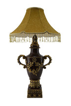 Fine Table Lamp with Handles and Shade With Antique Vintage Finish - $114.78
