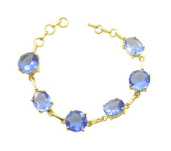 Blue Gold Plated Glass grand Blue Shappire CZ easily Bracelet AU gift - $26.52