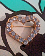 Vintage Light  Blue Rhinestone Small Heart Pin Brooch - $3.80