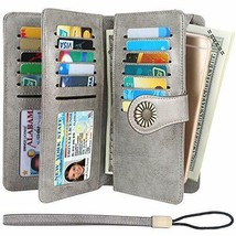 Lavemi Womens Large Capacity RFID Blocking Leather Wristlet Clutch Gray - $33.28