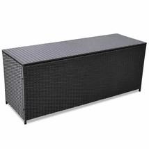 vidaXL Outdoor Storage Box Poly Rattan Black Entryway Chest Bench Organizer - $134.99