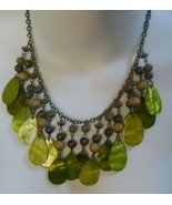 Vintage Green Shell & Wood Bead Dangle Necklace - $18.80
