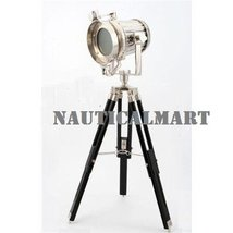 Designer Nickel Finish 75cm Tripod Floor Lamp For Living Room By Nauticalmart - $137.61