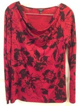 Talbots S Red Black Floral Cowl Long Sleeve Rayon Blend Knit Top EUC - $15.51