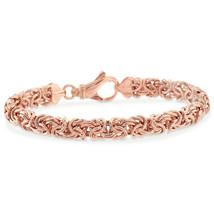 """New OT Turkey 14K Rose Gold on Sterling Silver Byzantine Link Bracelet 7.8"""" - $9.79"""