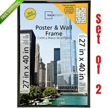 Mainstays 27x40 Wide Black Poster Picture Large Frame Set of 2 Home Wall... - $55.80