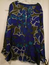 APT 9 Women's Zippered Pullover Blouse size 3XL Multicolor loose fit - $16.82