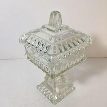 1960's Jeanette Glass Covered Pedestal Wedding Box Candy Dish Scalloped Clear - $16.98