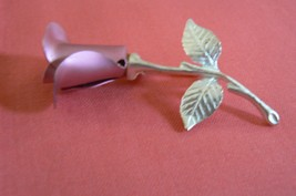 Lovely Vintage Avon Silver Tone Branch with Pink Rose Brooch - $10.88