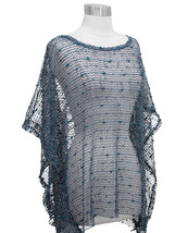 Teal Nubby Open Weave Sequin Slipover Poncho Top - Also in Ivory, Beige ... - $22.90