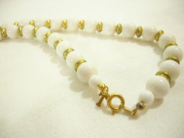 Trifari White Beads Gold Plate Spacers Necklace Strand String Elegant Classic image 6