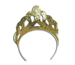 TIARA. SEQUIN GOLD LARGE, FANCY DRESS ACCESSORY - £2.44 GBP