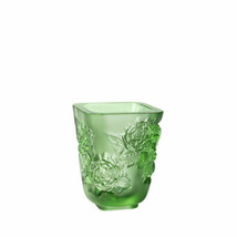 LALIQUE PIVOINES VASE SMALL SIZE GREEN CRYSTAL 10708800 NEW - $1,069.20