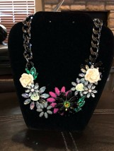 """Joan Rivers Jeweled Blossoms Gunmetal 15"""" Necklace w/3"""" Extender featured on QVC - $59.99"""