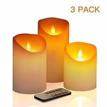 """Flameless Candles,4"""" 5"""" 6"""" Set of 3 Battery Operated Pillar Real Wax, In... - $19.43"""