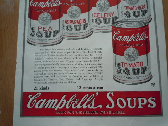 Vintage Campbell's Soup Vegetable Puree's Print Magazine Advertisement 1923 image 3