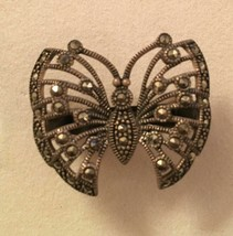 Vintage circa 1980s Sterling Silver Marcasite Butterfly Ring Size 6 - $14.82
