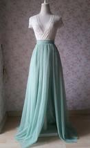 Women Bridesmaid Misty Green Split Tulle Skirt Wedding Maxi Tulle Skirt,US0-US30 image 7