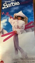 Winter Fun Barbie Doll Mattel 5949 Pink Skis 1990 Sunglasses White Outfit - $39.55