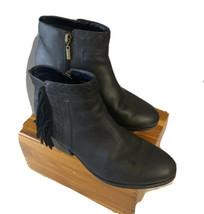 Clarks Artisan Gelata Flora Black Nubuck Fringe Side Zip Ankle Boots Wom... - $28.71