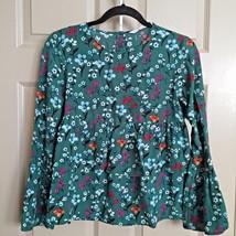 Zara Women Top Blouse Size Small Floral Green Ruffle Long Bell Sleeve Fr... - $24.80