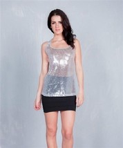 Sparkly Sequins Silver Tank Top  M or L Cleo Apparel made in USA