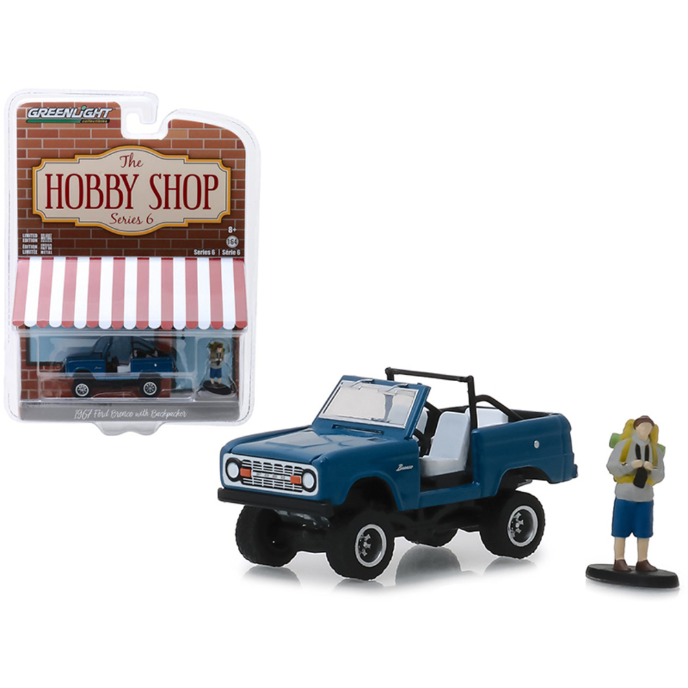 1967 Ford Bronco Dark Blue (Doors Removed) with Backpacker Figure The Hobby Shop