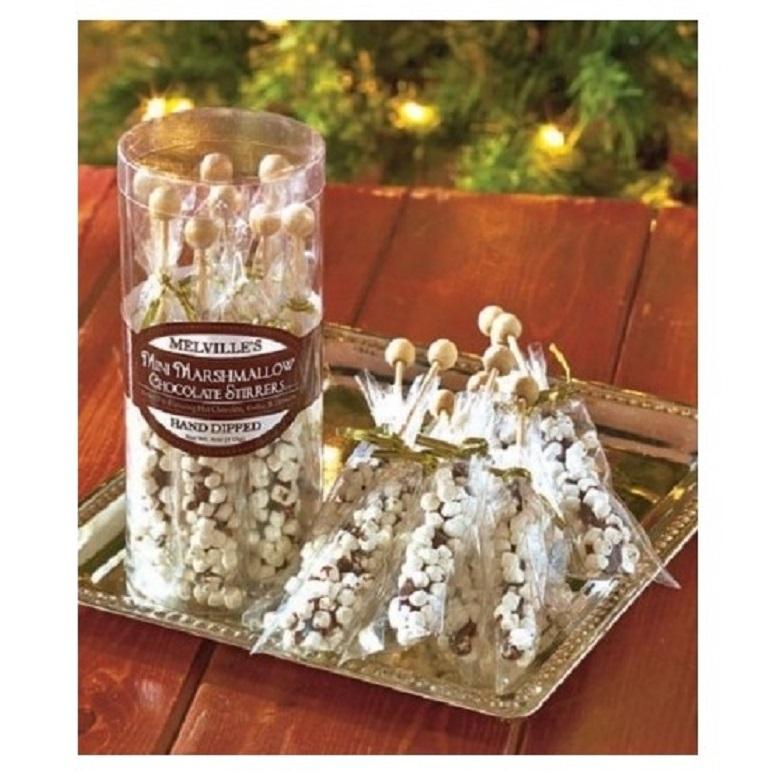 Set of 8 Gourmet Hot Beverage Stirrers Honey Chocolate Peppermint Marshmallow
