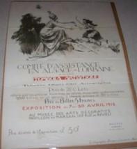 1916 WWI ALSACE LORRAINE FRANCE TOMBOLA ART FESTIVAL SHOW BROADSIDE POSTER - $168.29