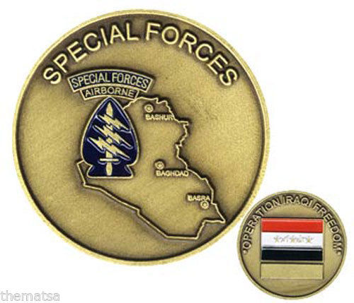 ARMY SPECIAL FORCES AIRBORNE IRAQI FREEDOM OIF MILITARY  CHALLENGE COIN
