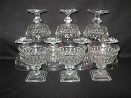 VINTAGE CLEAR GLASS PEDESTAL SHERBERTS WITH SQUARE BASES - TEN - $28.98