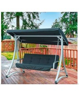 Steel Garden Swing w/ Canopy Freestanding for Porch Deck Patio Strong Se... - $299.88