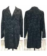 CMC Black Brocade Tapestry Coat Womans XL Button Front Long Below Hip Un... - $116.05
