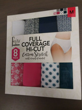 Felina Full Coverage Hi-Cut Cotton Stretch Panties, 8 Pack, M, Multi color - $14.84